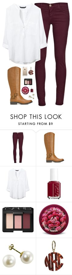 """maroon"" by classically-preppy ❤ liked on Polyvore featuring Current/Elliott, JustFab, Zara, Essie, NARS Cosmetics and The Body Shop"