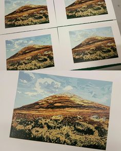 Mount Errigal. Multi block lino cut reduction. City Photo, Vintage World Maps, Prints