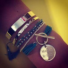 Composition de bracelets turquoise et argent - l'Atelier d'Amaya #bijoux #jonc…