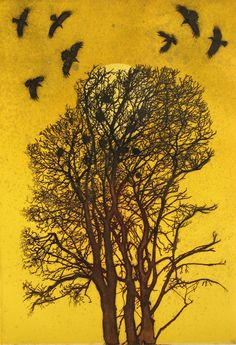 'Rookery' by Hester Cox (solar plate and collagraph) Collagraph, Crows Ravens, Scenery Photography, Mellow Yellow, Color Yellow, Yellow Black, Printmaking, Illustration Art, Illustrations