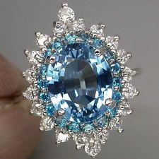 APATITE RING:  $24.99MARVELOUS SWISS BLUE TOPAZ MAIN STONE 5.76 CT. APATITE SAPP 925 SILVER RING SZ 7
