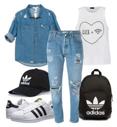 """Untitled #78"" by monochromedivine on Polyvore featuring Ally Fashion, Sans Souci, adidas Originals, Levi's, denim and adidas"