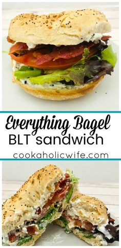 Everything Bagel BLT Sandwich - Cookaholic Wife Blt Recipes, Dinner Recipes, Healthy Recipes, Bagel Lunch Recipes, Healthy Sandwiches, Delicious Sandwiches, Dinner Sandwiches, Bagel Recipe, Best Bagel Sandwich Recipe