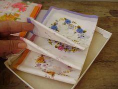 Unused,Vintage linen handkerchief in original box,5 pieces