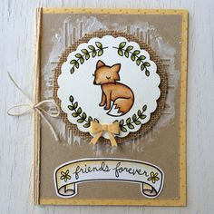 Lawn Fawn - Critters in the Forest,  Blissful Botanicals, Bannerific + coordinating die, Sophie's Sentiments, Scalloped Circle Stackables _ sweet and beautiful Friends Forever card by Lexa via Flickr - Photo Sharing!