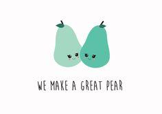 Postkaart We make a great pear together Postkaart We make a great pear together. Deze quote zegt genoeg, hang hem of stuur hem op naar je vriend(in) of geliefde.  [ssba]...