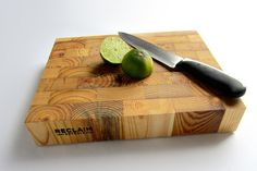 End Grain Butcher Block by RECLAIM DETROIT. The Story: These end-grain butcher block cutting boards are made of old growth reclaimed lumber from Detroit area homes salvaged by Reclaim Detroit's deconstruction crews, then fabricated by our Reclaim Detroit mill workers. Each cutting board is handcrafted and stamped, carrying the history of the wood into its new life. The beauty and color variation in this lumber is just amazing.