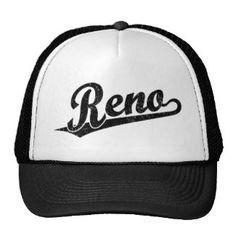 hay cap Reno script logo in black distressed