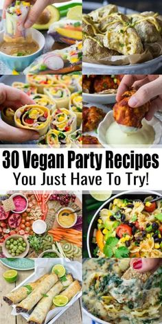Got a party or potluck coming up? This list of 30 vegan party recipes includes a… Got a party or potluck coming up? This list of 30 vegan party recipes includes all the recipes you need: vegan dips, salads, vegan finger food, and even desserts! Vegan Finger Foods, Healthy Vegan Snacks, Vegan Appetizers, Vegan Foods, Appetizer Recipes, Salad Recipes, Vegetarian Finger Food, Vegetarian Party Foods, Finger Food Recipes