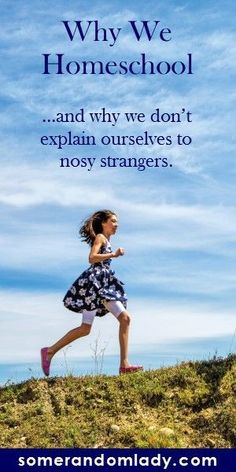 Why we choose to homeschool and why we don't explain our reasons to every nosy stranger. Click to read about a few people you will encounter and questions you will hear when you embark on your homeschooling adventure.