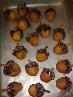 Doughnut holes made to look like acorns - A Mouse found a nut and the nut was goooood!