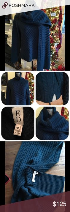 ED by Ellen Cashmere Fisherman Cable NWOT Beautiful teal blue-green fisherman cable sweater with matching oversized scarf!!  30% Cashmere!NWOT. ED by Ellen Sweaters