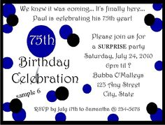75th Birthday Party Invitations | eBay