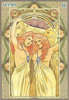 Paper - Signe astrologique Gémeaux - Gemini by Alfred Mucha