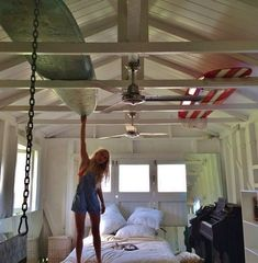"I like the idea of using exposed beams in the garage to store snowboards, XC skis, our kayaks and all that jazz... I know this is her bedroom in this pic, but I think it would make a great ""storage"" garage.                                                                                                                                                      Mais"
