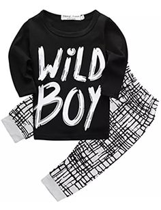Toddlers Baby Boys Clothes Set Long Sleeve Wild Boy T-Shirt Tops Pants Outfit Winter Spring