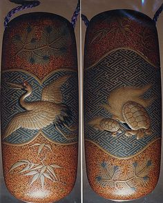 Case (Inrô) with Design of Long-Haired Turtles (obverse); Stork with Pine Sprigs…