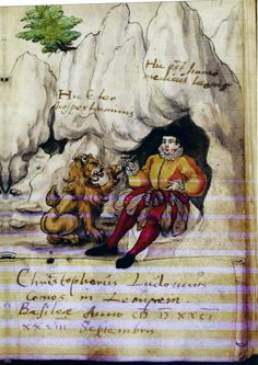 """Androcles and the lion motif. At the entrance to a cave a man removes a thorn from a lion's paw. From Twestreng's album amicorum, this page dated Basle,1581. Twestreng was training to be a doctor and the man is labelled """"here is a medical man"""" [can't make out final word] Lion is labelled """"Here is a lion visiting the man"""" via Copenhagen, Det Koninglige Bibliotek"""