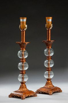 Pair of 19th Century Glass and Bronzed Metal Lamps