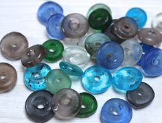 Recycled glass roundels, blue tones by allthatglittersbeads on Etsy