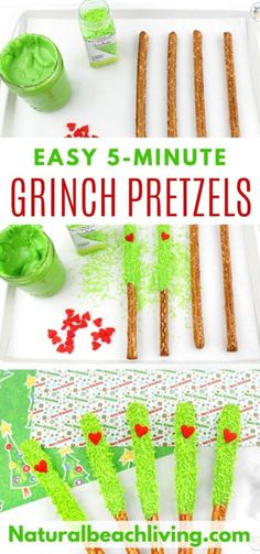 Grinch Chocolate Covered Pretzels for The Best Grinch Food - Natural Beach Living - Trend Christmas Teens Ideas 2019 Grinch Christmas Party, Grinch Party, Christmas Snacks, Christmas Activities, Christmas Goodies, Christmas Candy, Christmas Baking, Christmas Traditions, Family Christmas