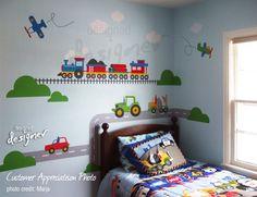 Promotion NEW DESIGN - Little Boys Room - Transportation - Truck, Train, Airplane - dd1065 - Vinyl Wall Decal Wall Sticker Nursery Decal. $150.00, via Etsy.