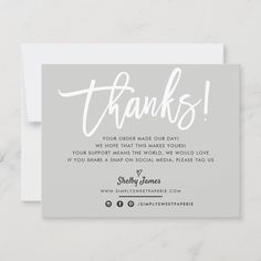 Cute Thank You Cards, Thank You Card Design, Thank You Messages, Thank You Notes, Small Business Cards, Business Thank You Cards, Appreciation Quotes, Thanks Card, Message Card