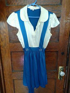 Betsey Johnson Alice Silk Dress Blue Pinup Lolita Vintage Rockabilly Jumper SZ10 #BetseyJohnson #WrapDress