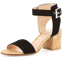 Gianvito Rossi Suede Ankle-Wrap Sandal ($645) ❤ liked on Polyvore featuring shoes, sandals, black, black sandals, ankle wrap sandals, ankle strap shoes, black strappy sandals and black suede sandals