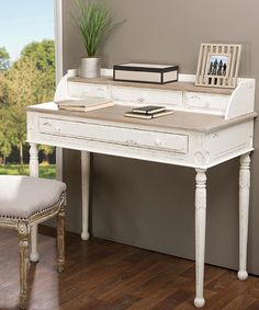 Another great find on #zulily! White & Light Brown Traditional French Writing Desk #zulilyfinds