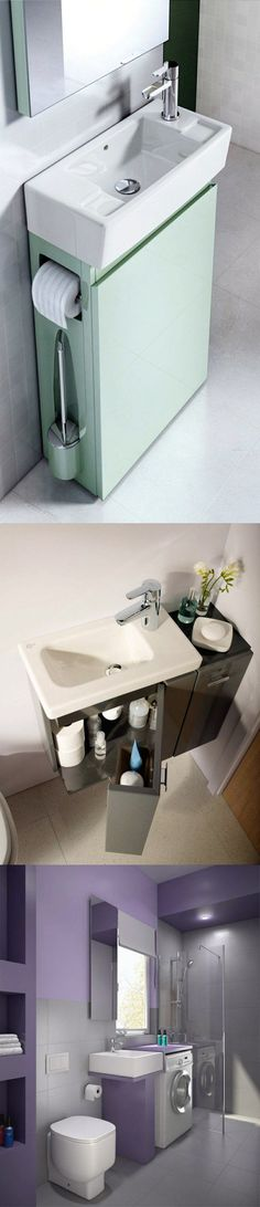 Small bathroom ideas: Space-saving modern bathroom furniture; Practical cabinet sink; Washing machine in the bathroom. ♦ Kleines bad ideen: Platzsparende moderne badezimmer möbel; Praktischer unterschrank waschbecken; Waschmaschine im badezimmer.