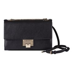 JIMMY CHOO Rebel Soft Small Shoulder Bag (1'145 CHF) ❤ liked on Polyvore featuring bags, handbags, shoulder bags, black, real leather handbags, shoulder bag purse, leather shoulder bag, chain purse and leather purses
