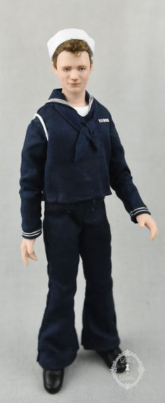 1940's era US Navy soldier in 1:12 scale Dollhouse Dolls, Miniature Dolls, Military Figures, Boy Doll, Vancouver, Porcelain, Miniatures, Normcore, Scale