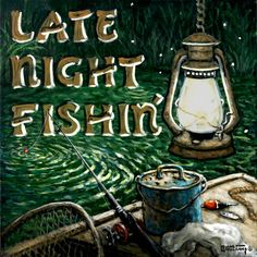 Late Night Fishin', another new poster from artist Janet Kruskamp, depicts a late night fishing trip, the lantern hung high, the bobber floating on the water connected to the pole leaning over the side of the boat. An old bait bucket, lure, net and bobber sit on and in the boat. The dark background is speckled with fireflies and on the left side in rustic capitals is the title LATE NIGHT FISHIN. Order this and other enhanced giclees directly from the artist, Janet Kruskamp.