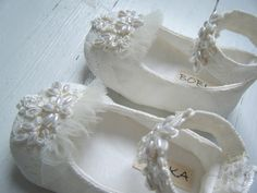 Ivory Pearl And Lace Ankle Strap Shoe 'Pemberly' For Your Baby Girl