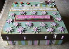 Caixa harmony cod 25 Toda trabalhada com papel para scrapbook R$ 57,00