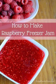 Want to bottle up that great flavor of summer raspberries? I've got an easy raspberry freezer jam recipe. Even if you've never made jam before with this video tutorial, I'll show you just how easy it (Homemade Butter Freezers) Freezer Jam Recipes, Jelly Recipes, Freezer Cooking, Canning Recipes, Fruit Recipes, Freezer Meals, Recipies, Dairy Recipes, Cat Recipes