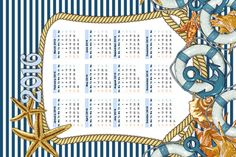 Nautical Moments Blue Tea Towel Calendar - 2016 fabric by spicetree on Spoonflower - custom fabric