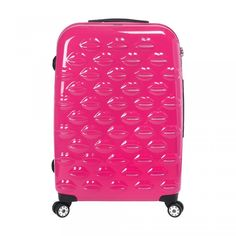 df41c59de7e38  RARE  Lulu Guinness Pink Hard Sided Lips Large Spinner Suitcase Pink  Suitcase