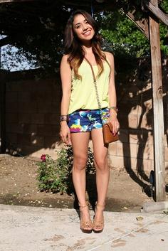 32c79276f6c7 Neon Yellow Tank + Blue Print Shorts + Nude Heels Crossbody Bag by  DulceCandy