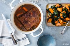 Brisket kale and sweet potatoes