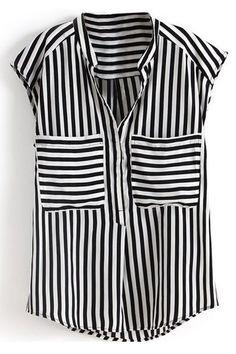 ROMWE | Stripe Double Pockets Shirt, The Latest Street Fashion