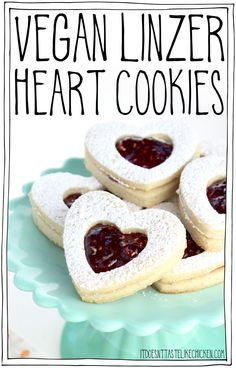 Vegan Linzer Heart Cookies The Buttery Soft Sugar Cookie, Sprinkled With Powdered Sugar, Filled With Sweet Raspberry Jam. They Are Every Bit As Tasty As They Are Adorable. Ideal For A Gift For A Loved One Or For Sharing During The Holidays. Egg-Free, D Healthy Vegan Dessert, Cake Vegan, Vegan Dessert Recipes, Vegan Treats, Cookie Recipes, Vegan Food, Delicious Recipes, Beef Recipes, Vegan Vegetarian