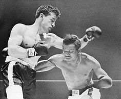 April 16, 1952 - Sugar Ray Robinson came off the canvas in the third round and knocked out Rocky Graziano of New York City moments later in their world middleweight title fight at Chicago Stadium. Graziano fought once more and retired with a record of 67-10-6, including 52 knockouts.
