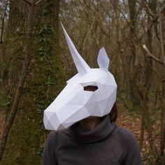 Print + make your own Unicorn Mask van Wintercroft op Etsy