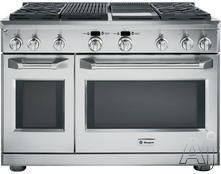 """GE Monogram ZGP484LGRSS 48"""" Pro-Style All-Gas Range with 4 Sealed Dual-Flame Stacked Burners, Grill, Griddle, 6.2 cu. ft. Caterer Oven, Reverse Air Convection, Infrared Broil Burner and 2.7 cu. ft. Everyday Oven: Liquid Propane"""