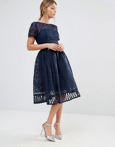 80bd498ac2 Chi Chi London premium lace dress with cutwork detail and cap sleeve in navy