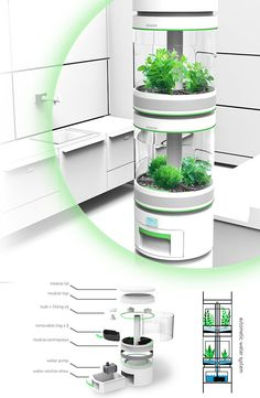 Personal Hydroponics Inspired by larger vertical farming systems, Stem is an indoor modular appliance used for growing small plants. Designer: George Sawyer