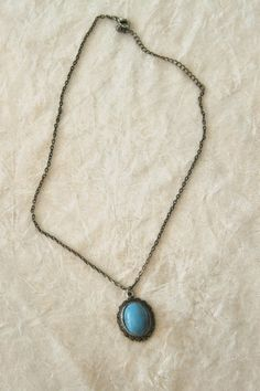 Turquoise Colored Stone in Silver Pendant @Tophatter