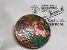 VINTAGE JEWELLERY BEAUTIFUL CLOISONNE ENAMEL BUTTERFLY FLOWER BROOCH PIN SHAWL. SOLD.